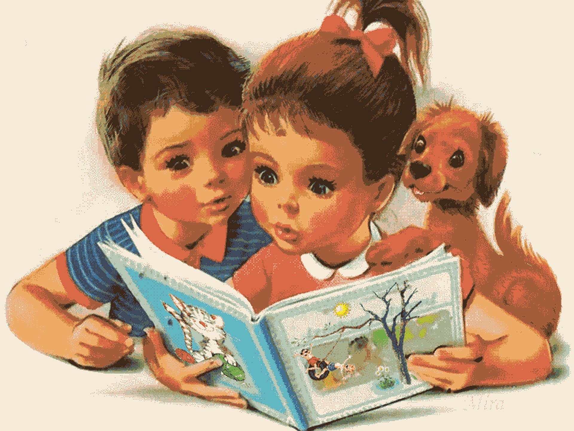 Картинки дети читают книги, днем