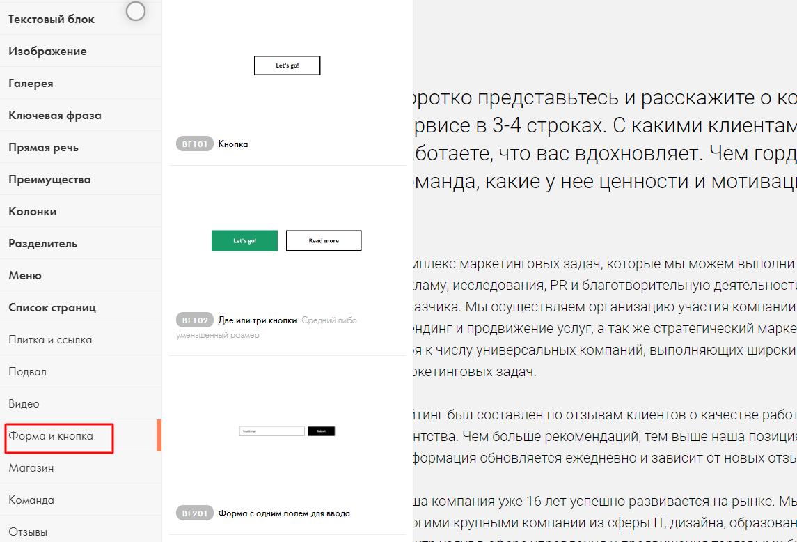 Размещение виджета в конструкторе сайтов Tilda